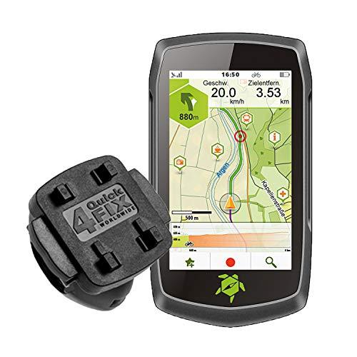 TEASI ONE4 - Fahrrad- & Wandernavigation + Fahrradhalter Lenkerbefestigung + USB Netzteil + Schutzfolie + optionales Zubehör (Teasi one4 + MTB Fahrradhalter, ohne Zubehör)