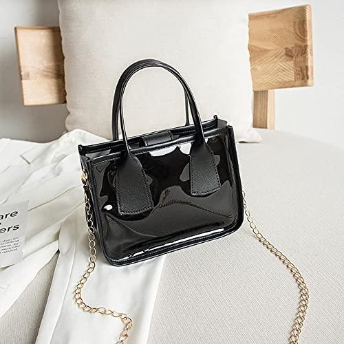 Bolso transparente de gelatina de tendencia a la moda para mujer, bolso cruzado sólido de PVC, PU, cuero, cremallera, bolsos compuestos, cadena, bolso con correa para el hombro, negro