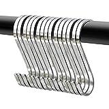 Swatowot Paquete de 12 ganchos planos en S de acero inoxidable de 9 cm para...