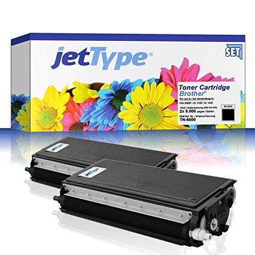2x TN-6600 Toner kompatibel f. Brother FAX-8360P / HL-1430 / MFC-9880 / HL-1450 / HL-1230 / HL-1250 / HL-1030 / HL-1240 / HL-1440 / MFC-9850 / MFC-9660, schwarz, 2x 6.000 Seiten
