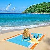 ZealousDream Alfombras de Playa, Toalla Playa Gigante 200 x 200, Manta Picnic Anti-Arena Impermeable con 4 Estaca Fijo para la Playa, Acampar, Picnic y Otra Actividad al Aire Libre