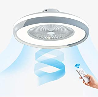 Luz del Ventilador de Techo con Luz y Mando a Distancia, Blanco y Negro Alternativo Moderna Ventilador Invisible Cuarto de Estar Dormitorio Guardería Plafón Fan,Gris,60CM