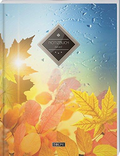 """TULPE Kariertes Notizbuch A4 """"C095 Herbstlich"""" (140+ Seiten, Vintage Softcover, Doppelrand, Seitenzahlen, Register - Dickes Notizheft, Matheheft, ... Schulheft, Tagebuch,..."""