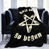 fivekim Hail Seitan Go - Manta de microfibra vegana supersuave, lujosa manta de sofá y cómoda ropa de cama de microfibra de 50 x 40 pulgadas