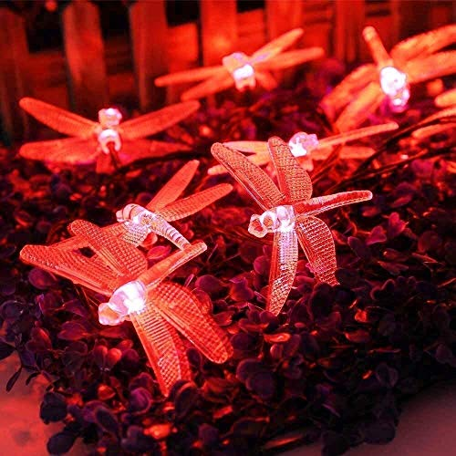 yvyuan Solar Lights Outdoor, Solar Garden Lights, Dragonfly Solar String Lights, Waterproof for Christmas, Tree, Garden, Home, Wedding, Pathway, Party