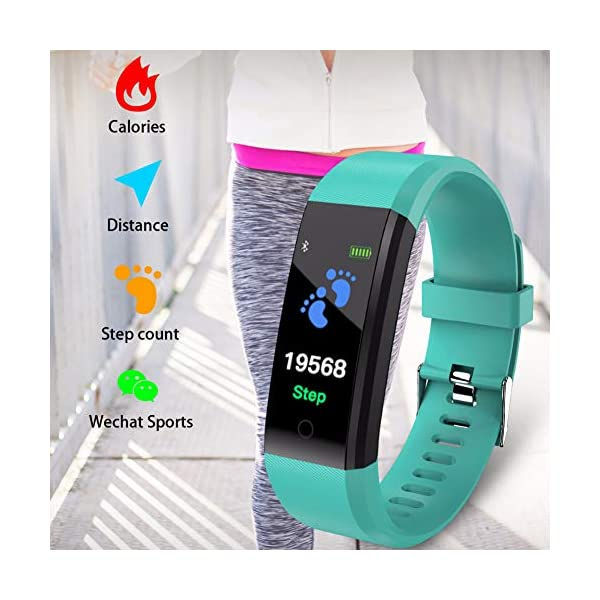 Leobtain Fitness Tracker Pantalla a Color Monitor de Ritmo Cardíaco Presión Arterial Pulsera Inteligente Relojes… 7