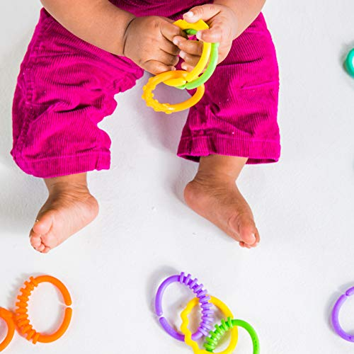 Bright Starts Lots of Links Rings Toys - for Stroller or Carrier Seat - BPA-Free 24 Pcs, Ages 0 Months Plus