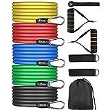 Bandas de Resistencia Fitness Musculacion, 5 Bandas Elásticas de Látex con Asas, Tubos de Entrenamiento para Entrenar con Soporte de 100lbs, para Equipos de Fitness, Yoga, Pilates, Terapia Física