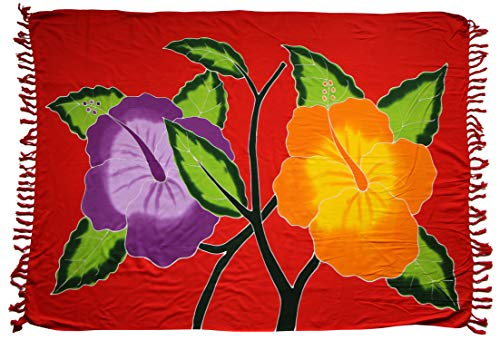 ca.100 Modelle im Shop Sarong Strandtuch Pareo Wickelrock rot Hibiskus Blüte Sar49