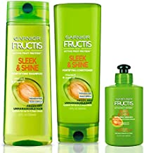 Garnier Fructis Sleek and Shine Shampoo, Condition + Leave-In Conditioning Cream Kit, (Personal Size SandC)
