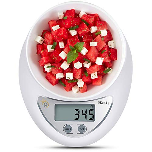 MOCEAN Food Scale, 11lb Digital Kitchen Scale Weight Grams and oz for Cooking Baking, 1g/0.1oz Precise Graduation, High Accuracy with Tare & Auto Off Multifunction (Scale Only)