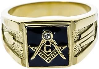 Sujak Jewelry Black Enamel Masonic Men's Ring Traditional Style 18K Gold Overlay