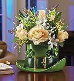 Fiber Optic Flowers Bouquet Leprechaun Top Hat St Patrick's Day Floral Centerpiece Table Top Accent Decor