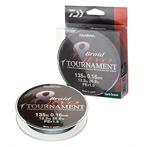 Daiwa Tournament 8 Braid EVO 0.18mm, 15,8kg/34,7lbs 300m dunkelgrün