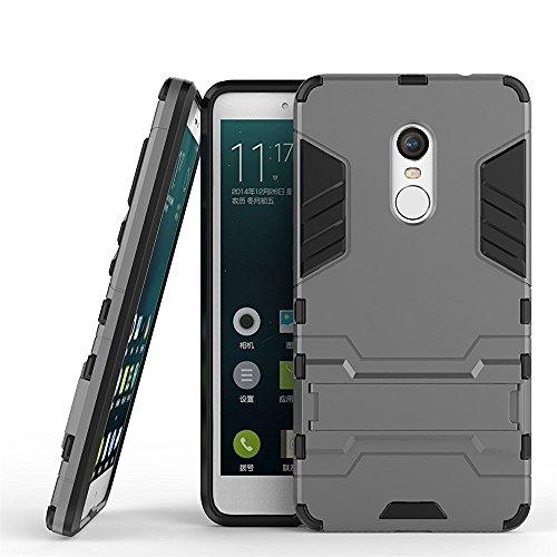 MaiJin Funda para Xiaomi Redmi Note 4 / Redmi Note 4X (5,5 Pulgadas) 2 en 1 Híbrida Rugged Armor Case Choque Absorción Protección Dual Layer Bumper Carcasa con Pata de Cabra (Gris)
