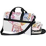 Buyxbn - Bolsa de Deporte con Compartimento para Zapatos, diseño de Elefante, Color Blanco