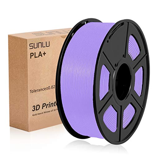 SUNLU 3D Printer Filament PLA+,PLA+ Filament 1.75 mm,Low Odor Dimensional Accuracy +/- 0.02 mm 3D Printing Filament,2.2 LBS (1KG) Spool 3D Printer Filament for 3D Printers & 3D Pens,Purple