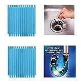 Qisiewell Abflussreiniger Sticks 50 Stück Blau Rohrreiniger Enzymreiniger für verstopfte Rohre im Bad Spülbecken Dusche Küche Spülbecken & WC & Waschbecken Badewanne und vieles mehr