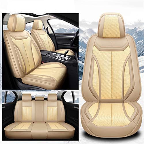 Upupto Cubierta Universal del Asiento del automóvil a la Ropa de Cuero, Extremadamente Transpirable y cómodo, Ajuste Universal para la mayoría de los automóviles, SUV y Camiones 9pcs,Beige