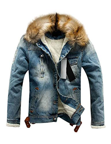 Firehood Men's Sherpa Lined Distressed Denim Trucker Jacket with Faux Fur Collar (Medium, Blue)