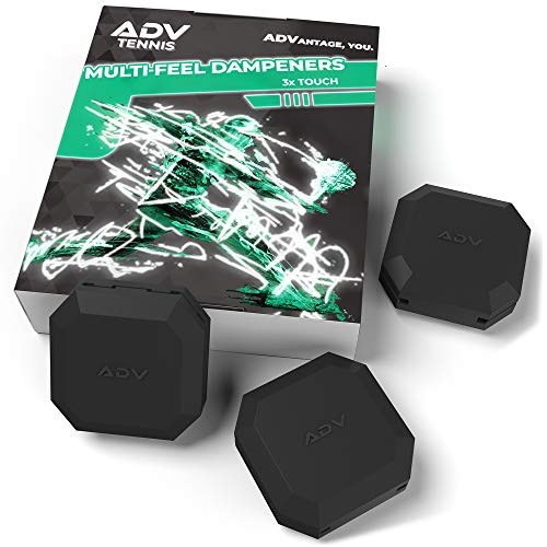 ADV Tennis Vibration Dampener - Set of 3 - Ultimate Shock Absorbers for Racket and Strings - Premium Quality, Durable, and 100% Reliable - Poly-Silicone Material Technology (Midnight | Touch 3-Pack)