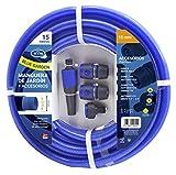 S&M 553042 553042-Manguera Azul Reforzada Blue Garden con Accesorios(Lanza de riego y Conectores) Rollo 15 m Ø15 Interior x Ø20 mm (diámetro Exterior) Anti-dobleces