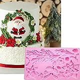 Wootkey Large Christmas Tree Poinsettia Silicone Fondant Mold Gum Paste Sugarcraft Mold Cake Decorating Tools