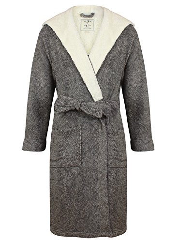 John Christian Men's Hooded Fleece Robe Dark Gray Marl (XXL)