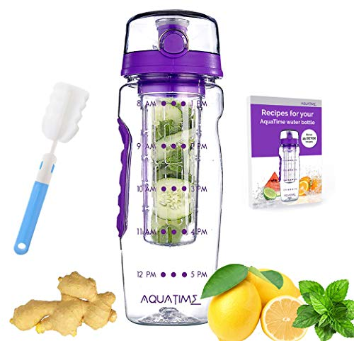 Time Marked Fruit Infuser Water Bottle AQUATIME Large 32 oz – Brush For Easy Clean included – Convenient To Carry - Fruit Infused Water Bottles - Infusion Bottle for Women and Men with Straw (Purple)