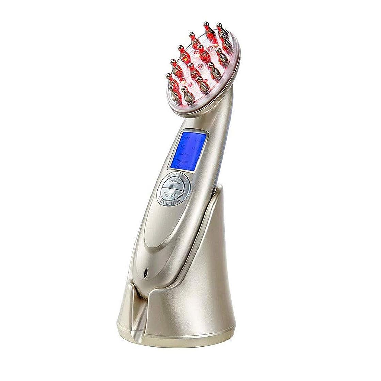 紫の革新キャロライン髪の成長櫛電気抗毛損失治療マッサージヘア再生ブラシ無線周波数職業 EMS Led フォトンライトセラピー櫛