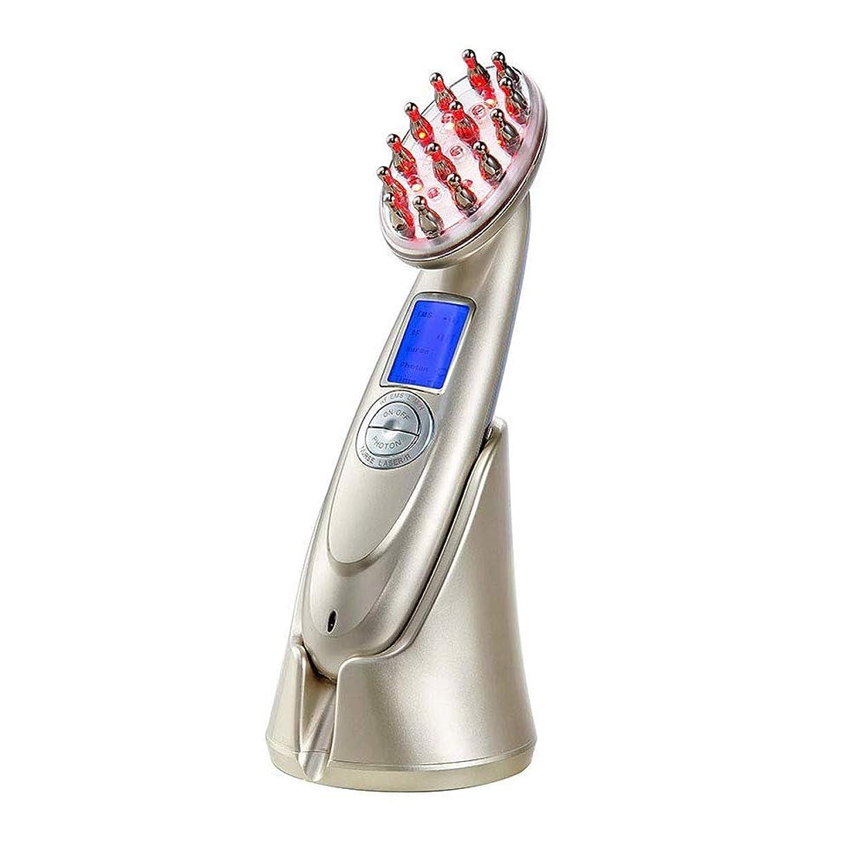 夫惑星好意的髪の成長櫛電気抗毛損失治療マッサージヘア再生ブラシ無線周波数職業 EMS Led フォトンライトセラピー櫛