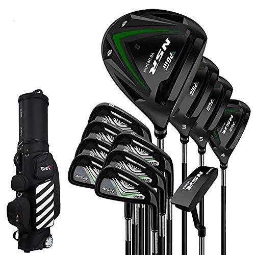 Binglinghua - Juego completo de palos de golf (12 unidades), Material del eje Flex-R de color negro.