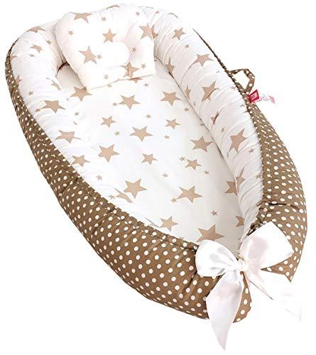 Hayisugar Babynest Kuschelnest aus Baumwolle extra weich und sicher, Babynestchen Nestchen Faltbett Reisebett mit Baby Kissen für Babys Säuglinge, Braun Stern, 85cm x 50cm