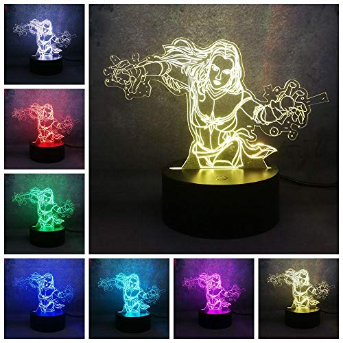La Lampada Da Illusione 3D Ha Condotto La Luce Notturna Lampada Da Tavolo Uomo Wei Hotmovie Donna Stupita Capitano 7 Colori Per Usb Kid Child Boy Gift Christmas Bed Home Decor