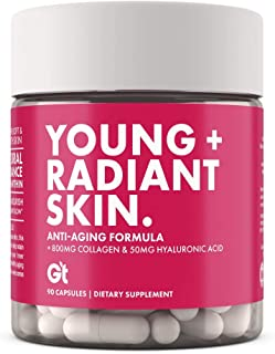 GT - Genesis Today - Young and Radiant Skin – 1,000mg Collagen, Hyaluronic Acid & Biotin - Glowing Skin Support Supplement - 90 Capsules