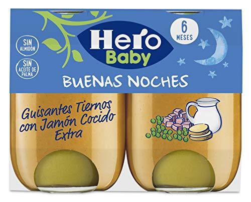 Hero Baby Buenas Noches Guisantes Tiernos con Jamón Cocido Tarrito de Puré para bebés a partir de 6 meses, 2x190 g