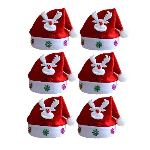 Fashionyoung FY 6pcs Unisex Adulto Babbo Natale Cappelli Cappello Berretti Babbo Natale Hat Sticker Partito Costume Fancy Dress Decorazioni Natalizie Regalo Colore 6