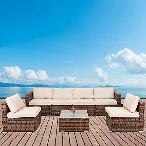 Homsido Gartenmöbel-Set, 7-teilig, für den Außenbereich, aus Polyethylen, Rattan, Sitzgruppe und Stühle, für Terrasse, Gesprächs-Set, Lounge-Set, Ecksofa, Couch mit beigem Kissen