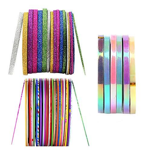SENDILI 46 Rollen Nail Art Stripes Tape - Nageldesign Zierstreifen Packung mit Striping Tapes Streifen in verschiedenen Farben 1MM 2 MM 3 MM