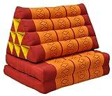 Wilai GmbH Cojín triangular tailandés con 2 pliegues de colchón, relajación, playa, piscina, jardín de meditación, rojo/naranja (81002)