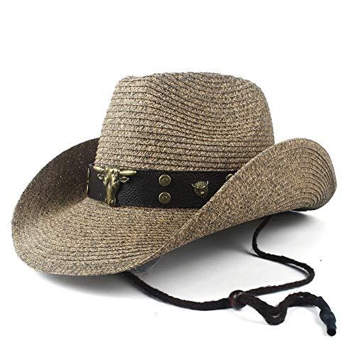 SSHZJUS Hueca Sombrero Beach Hombre Occidental del Sombrero de Vaquero Señora de Paja del Vaquero Panamá Jazz Casquillo de Sun Gentleman (Color : Café, Size : 56-58)
