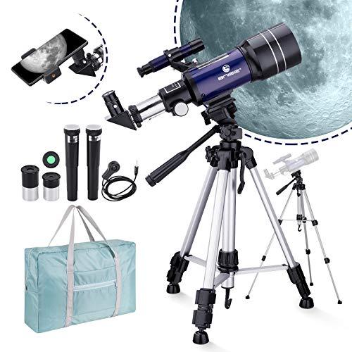 天体望遠鏡 子供や初心者用 150倍 70mm大口径 軽量伸縮式三脚付110cm 天体観測 野鳥 観察 カメラシャッター、電話クリップ、ハンドバッグ付き