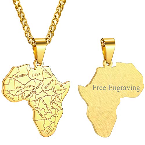 GOLDCHIC JEWELRY Golden African Necklace for Men, Gold Chain with Africa Map Country Border Jewellery