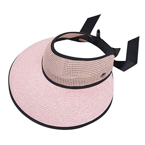 KUDICO Sonnenhut Golf Visier Strand Stroh Sommerhut Visoren Empty Top Hüte Bowknot Hat Visor Sonnenschutz für Damen UPF 50(Rosa, One Size)