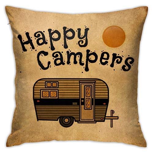 SUN DANCE Fundas de almohada de terciopelo decorativas, fundas de almohada Happy Camper, fundas de cojín para habitación, dormitorio, sofá, silla, coche, 45,72 x 45,72 cm