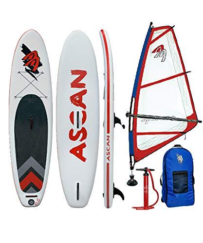 Ascan Wind SUP Board 10.6 Windsurf SUP con aleta + set de reparación + juego completo de aparejos Windsurf rojo/azul (3,5 m²)