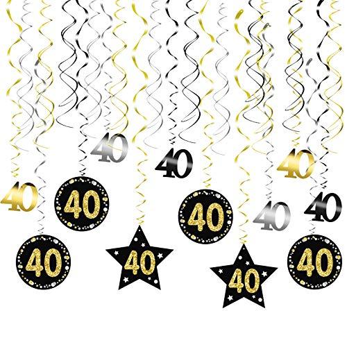 LOPOTIN 24TLG 40. Geburtstag Deko Spiralen Set 40er Geburtstagdeko Girlande Birthday Dekoration 40 Jahren Photo Booth Schwarz Gold Dekospiralen Hängedeko Geburtstagsgirlande für Frau Mann Jahrestag