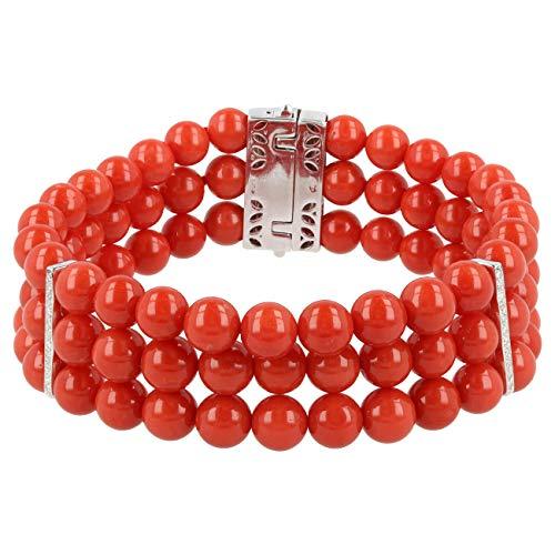 Gioiello Italiano - Bracciale in corallo rosso di Torre del Greco, oro bianco 18kt e diamanti, da donna, lunghezza 18 cm
