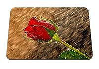 26cmx21cm マウスパッド (濡れたバラの雨のしずく) パターンカスタムの マウスパッド