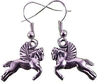 weiß Einhorn Märchen Fabel Pferd 9600 Ohrringe Ohrhänger Hänger Holz rosa